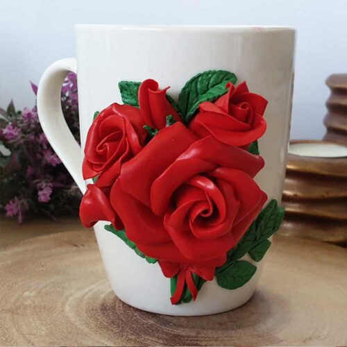 чаша с полимерна глина рози